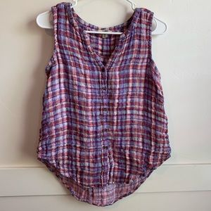 Lucky Brand Purple Plaid Button Up Tank Top